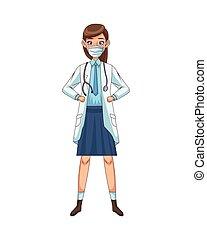 avatar, femme, icône, docteur, caractère