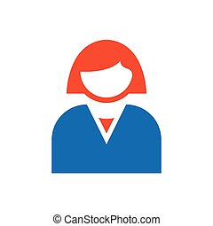 avatar Flat icon and Logo woman blue, orange