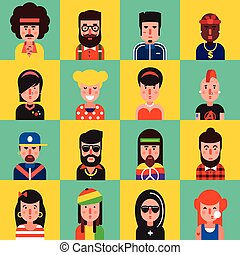 Avatar flat icon set with different types of colorful faces hairs and style vector illustration