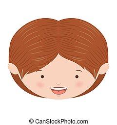 avatar front face caucasian boy vector illustration