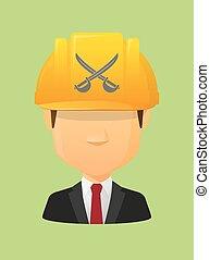 avatar, gekreuzt, arbeiter, schwerter, zwei