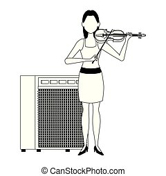 avatar girl with violin and sound amplifier design