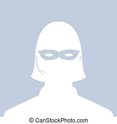 avatar head profile silhouette call center thief mask female picture