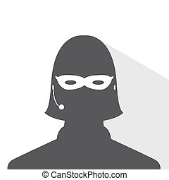 avatar head profile silhouette with shadow call center thief mask female picture