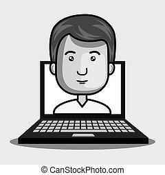 avatar, homem, e, laptop