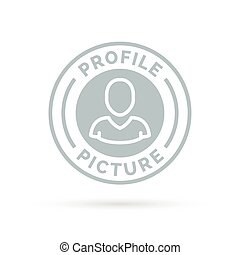 Avatar icon badge of grey profile picture stamp symbol....