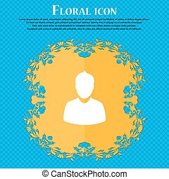 avatar Icon icon. Floral flat design on a blue abstract background with place for your text. Vector