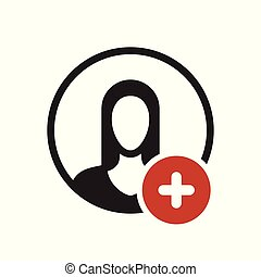 Avatar icon, people icon with add sign. Avatar icon and new, plus, positive symbol