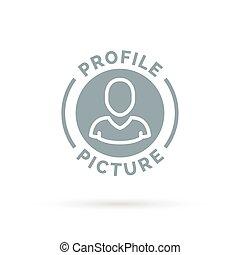 Avatar icon portrait of grey profile symbol.