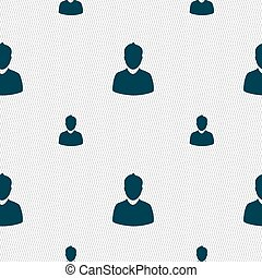 avatar Icon sign. Seamless pattern with geometric texture. Vector