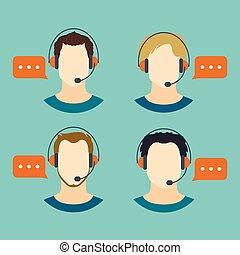 avatar, icone, centro, chiamata, maschio