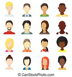 Avatar icons set, cartoon style