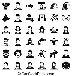 Avatar icons set, simple style - Avatar icons set. Simple...