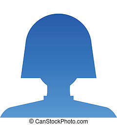 Avatar internet social female profile in blue. Vector