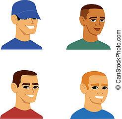 avatar, karikatura, portrét, o, muži