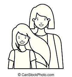 avatar, mère, fille, sourire, caractère