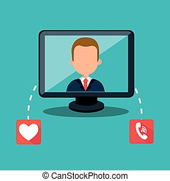 avatar man and computer monitor
