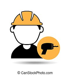 avatar man construction worker with drill tool icon