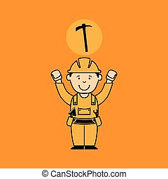 avatar man construction worker with gear cog icon