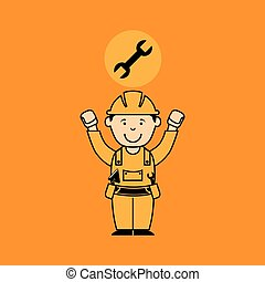 avatar man construction worker with wrench tool icon
