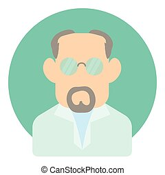 Avatar man doctor icon, flat style