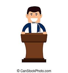 avatar man in a speech podium wooden