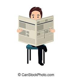 avatar man reading a newspaper