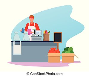 avatar man worker in supermarket cash register with groceries on the band
