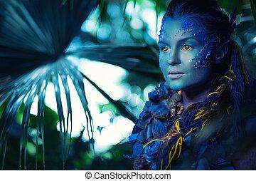 Mujer avatar maquillaje Llevando azul cara mujer pintura