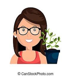 avatar, mulher sorri