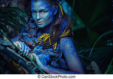 avatar, nő, alatt, egy, varázslatos, erdő