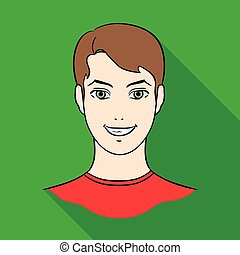 Avatar of a man with brown hair. Avatar and face single icon in flat style vector symbol stock illustration.