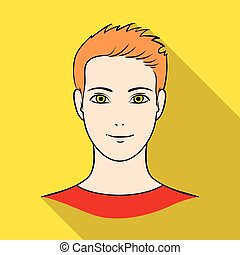 Avatar of a man with orange hair. Avatar and face single icon in flat style vector symbol stock illustration.