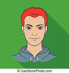 Avatar of a man with red hair. Avatar and face single icon in flat style vector symbol stock illustration.