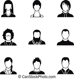Avatar of different people icons set, simple style