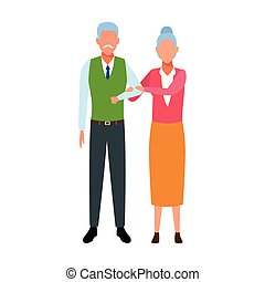 avatar old couple icon over white background, vector ...