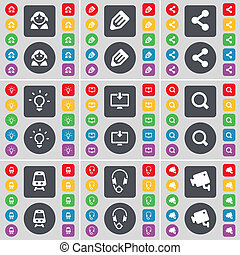 Avatar, Pencil, Share, Light bulb, Monitor, Magnifying glass, Train, Headphones, CCTV icon symbol. A large set of flat, colored buttons for your design.