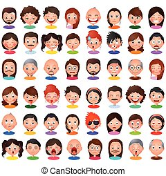 Avatar people Collection with different expression - vector...