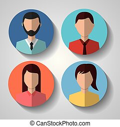 avatar people internet character female male circle icons