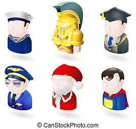 avatar people web icon set - An avatar people web or...