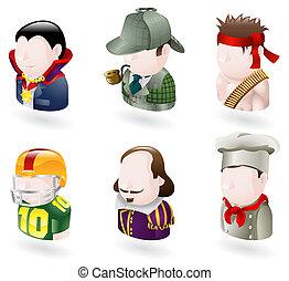 avatar people web icon set