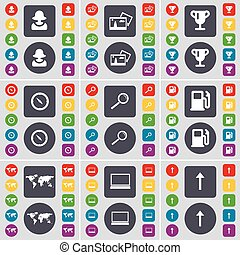 Avatar, Picture, Cup, Compass, Magnifying glass, Gas station, Globe, Laptop, Arrow up icon symbol. A large set of flat, colored buttons for your design. Vector