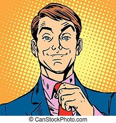 avatar portrait of a man straightens his tie