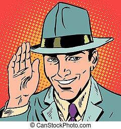 avatar portrait of man raised a hand, greeting