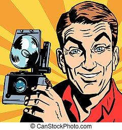 avatar portrait of man with retro camera