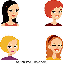 Avatar Portrait Woman Series - Set of 4 women cartoon ...