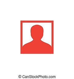 Avatar Red Icon On White Background. Red Flat Style Vector Illustration.