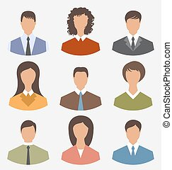 Avatar set front portrait office employee business people for we