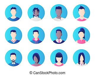 Avatar set. Group of working people diversity, diverse business men and women avatar icons. Vector illustration of flat design people characters.