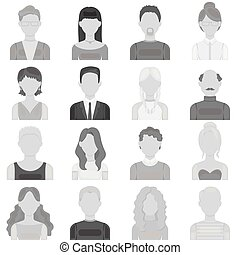 Avatar set icons in monochrome style. Big collection of avatar vector symbol stock illustration